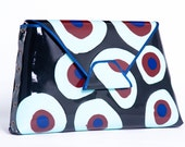 TARGET- HAND MADE-Big clutch circles - Black, Bright Turquoise, Bordeaux, Navy blue.
