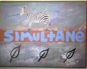 Zebra Collage Painting -- Original, Mixed Media
