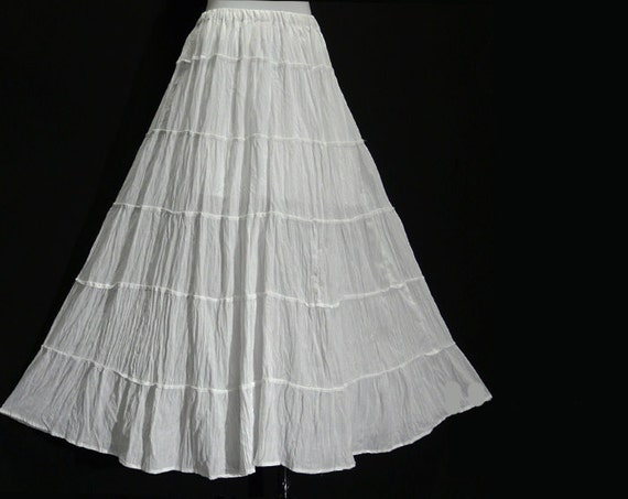 Long COTTON Skirt NEW Size 10 12 14 16 White Black Crinkle Easyfit Elastic Waist. Email to friends Share on Facebook - opens in a new window or tab Share on Twitter - opens in a new window or tab Share on Pinterest - opens in a new window or tab | Add to watch list. Seller information.