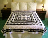 Modern Black and White Ohio Stars queen size quilt  Shabby Chic Cottage Boho