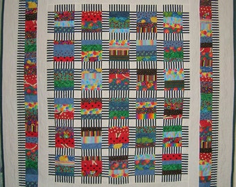 Colorful Scrap Kid Quilt, Twin Coverlet