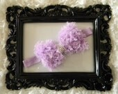 Get 10% OFF ENTIRE PURCHASE -  Lilac Shabby Chic Vintage Chiffon Hair Bow with Pearl Center on Lilac Elastic Headband