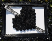 Get 10% OFF ENTIRE PURCHASE- Love Collection Black Rosette Heart with Demask Elastic Headband