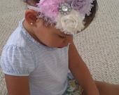 Sweet Pea Shabby Chiffon Rosette Flower With Clear Rhinestone Center on White Glitter Elastic Headband