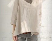nature/women blouse/top/loose/custom made/linen