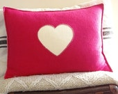 Handmade Pink Appliqued Heart Cushion cover with Blanket Stitching