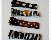 SALE Fun Assortment of Partially Lined Funky Mismatched Hair Clips with Various Styles of Ribbon Set of Four