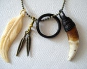 Old Wolf Tooth and Bone Feather Chain Necklace by Teepee Tribe Womens Mens Jewelery Accessories