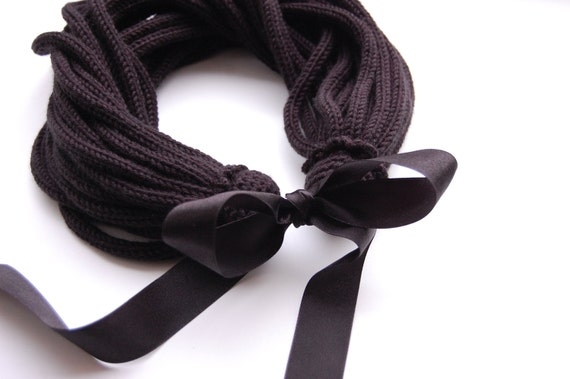 Necklace / scarf - Black and soft like satin