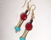 Earrings..............TRIBAL inspired earrings. crystals, turquoise and brass. Handmade in Australia by whjewelsandadornment
