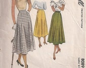 Vintage McCalls 8089 Ladies' & Misses Skirt Sewing Pattern c.1950