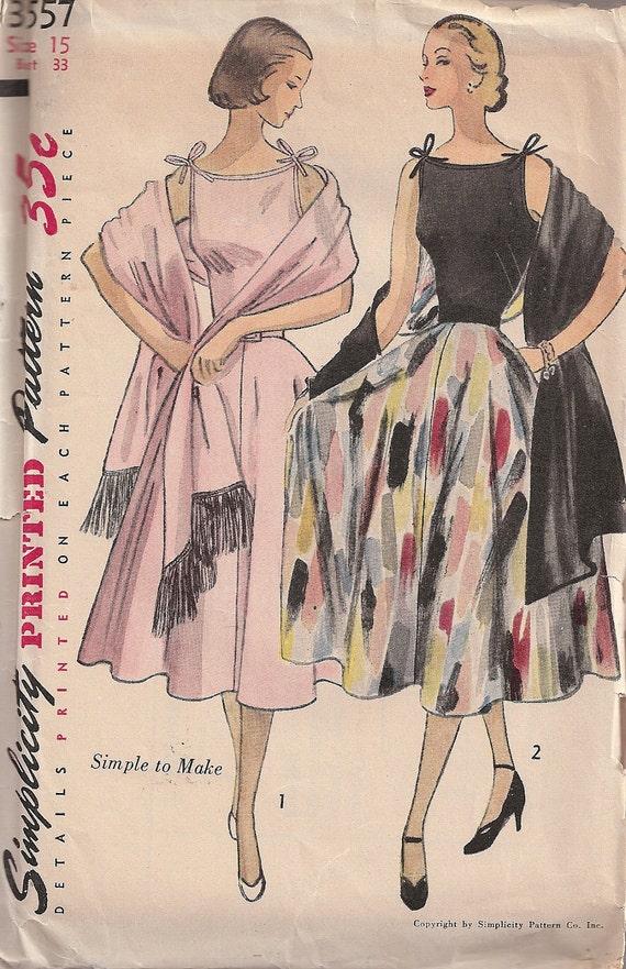 Vintage Simplicity 3557 Junior / Misses' One-Piece Dress & Stole Sewing Pattern c.1951