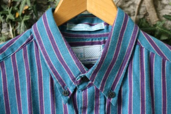 70s Levi's Colorgraphs Turquoise PurpleStriped Shirt Mens Medium