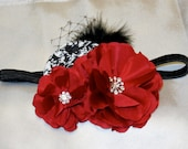 Black and White Rosette and Ruffled Red Silk Flowers with feathers, netting and Rhinestone Accent on Black Elastic Headband- Baby Headband