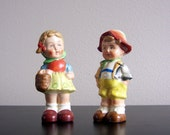 SALE - Vintage Danish Boy and Girl Salt & Pepper Shaker Made in Japan