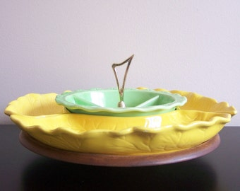 SALE - Mid Century Green & Yellow Lazy Susan Set