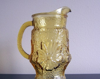 SALE - Small Vintage Amber Flower Molded Glass Pitcher  32 oz