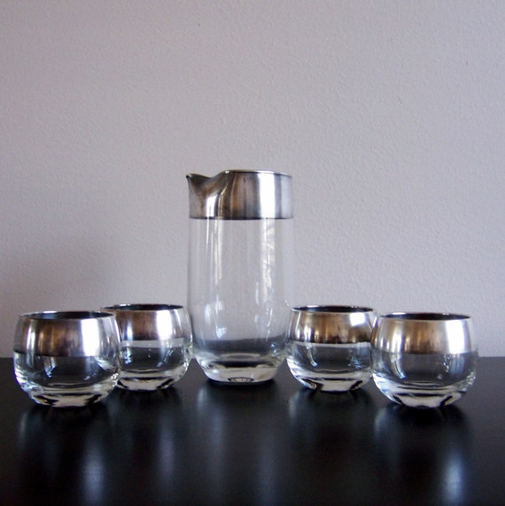 Silver Band Dorothy Thorpe 5 Piece Juice Cocktail Set