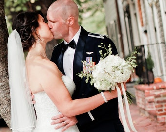 Ivory wedding veil, 2 tiers fingertip, with pearls, bridal veil