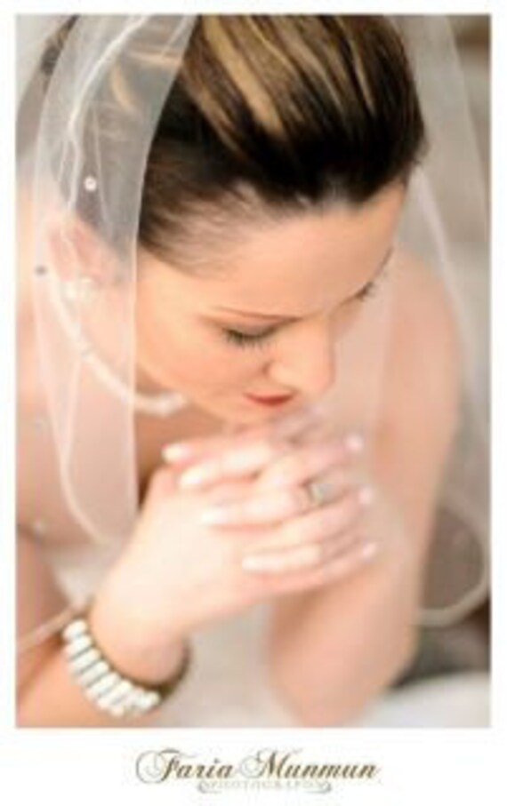 Bridal veil with crystal or silver beading has scattered rhinestones crystal trim veil silver trim veil all lengths available