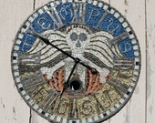 "TEMPUS FUGIT ... 30"" Diameter Handmade Mosaic Clock w/Working Pendulum"