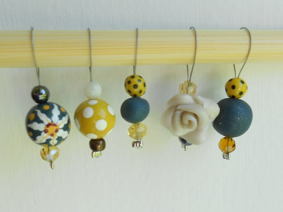 Navy and Mustard Mix Stitch Markers