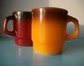 SPRING SALE  Retro Fire King Stackable Coffee Mugs Two-Tone Orange and Dark Brown Anchor Hocking