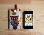 Owl print iPhone case for 4G 4GS 3GS - pouch, pocket, cover, protective sleeve colourful, woodland.