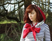 Ruby Garden - Reversible hooded scarf red, duck egg blue and floral, shawl, rain hood