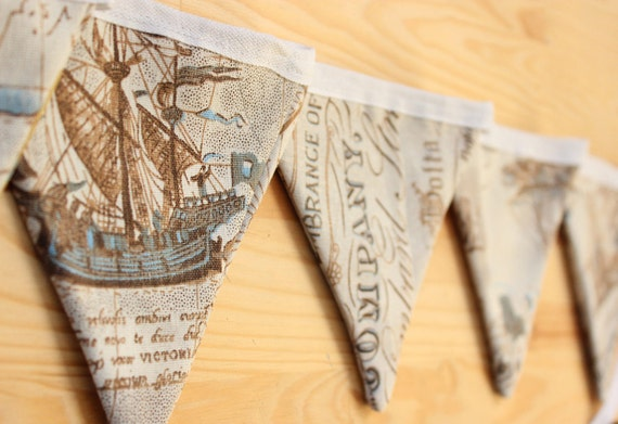 Nautical olde worlde map and ship print bunting sepia tones