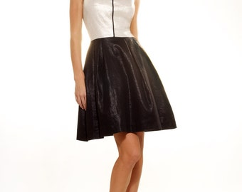 Trimmed & glossed cotton dress