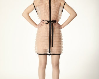 Trimmed nude sheer jersey ruffle parka style open front on snaps dress