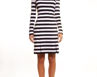 Cotton-blend stretch jersey dress with pleads