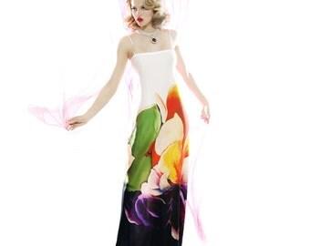 Silk satin-chiffon watercolor print maxi dress