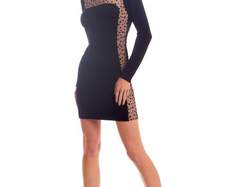 Viscose blend jersey dress with nude&polka dot inserts