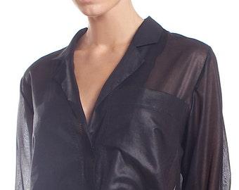 Sheer black glossy shirt