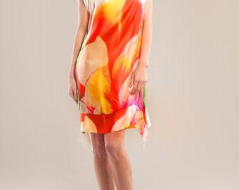 Silk satin-chiffon printed dress