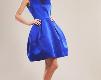 Cobalt blue silk taffeta cocktail dress