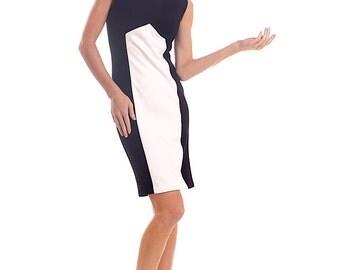 Heavy wool blend stretch jersey black-white dress