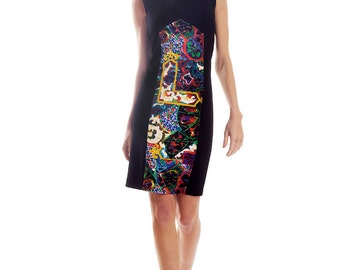 Heavy wool blend stretch jersey dress with print insert