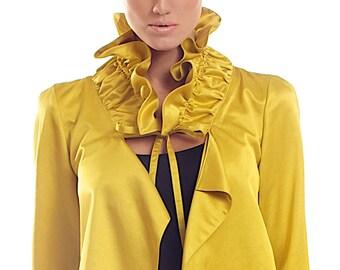 Cotton-viscose blend ruffle mustard yellow jacket