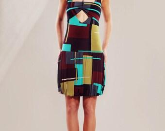 Viscose jersey geometric print dress