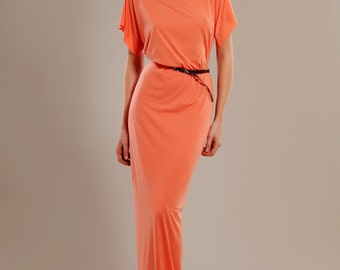 Coral stretch-jersey maxi dress