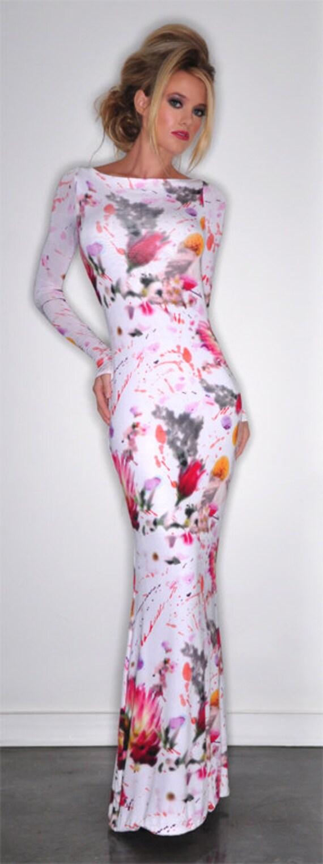 Viscose jersey floral printed maxi dress