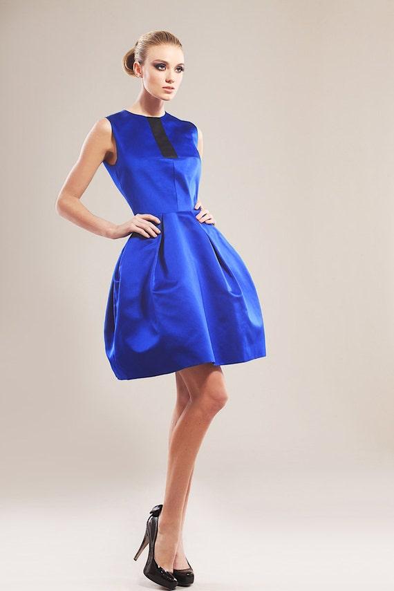 Cobalt blue silk taffeta cocktail dress