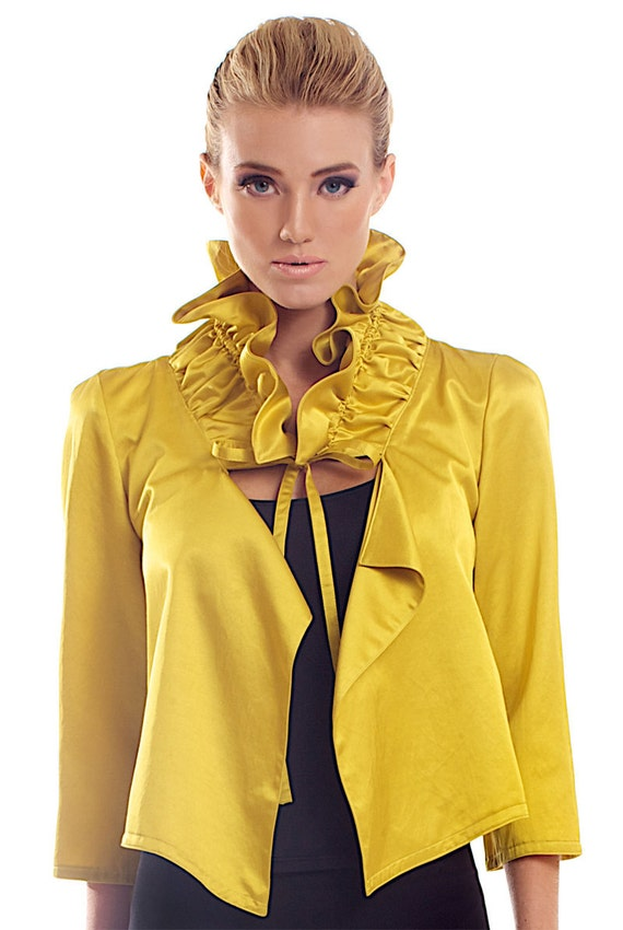 Cotton-viscose blend ruffle mustard yellow jacket