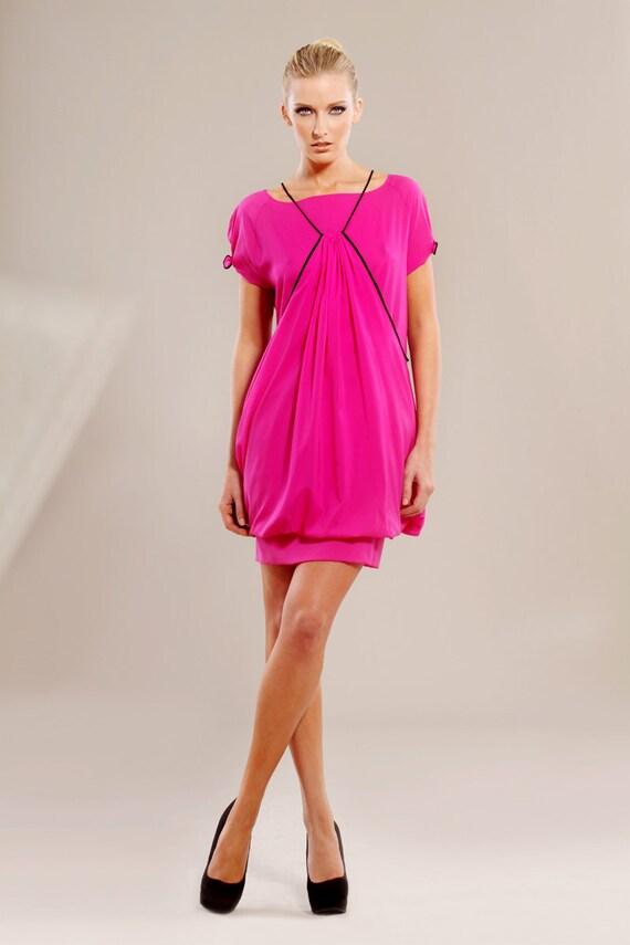 Fuchsia stretch silk-chiffon sweater style dress