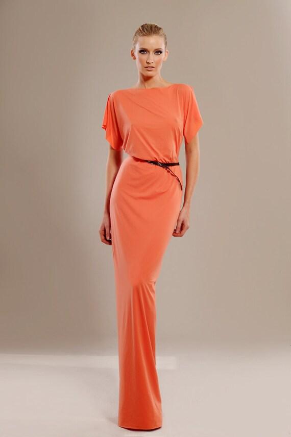 Coral stretch-jersey maxi dress