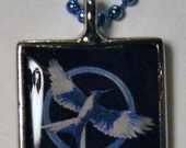 The Hunger Games - Blue Mockingjay - Silver and Resin Pendant - Square