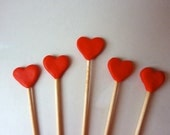 Heart Cake toppers - red romantic couples wedding valentines cupcake picks cocktail sticks romantic